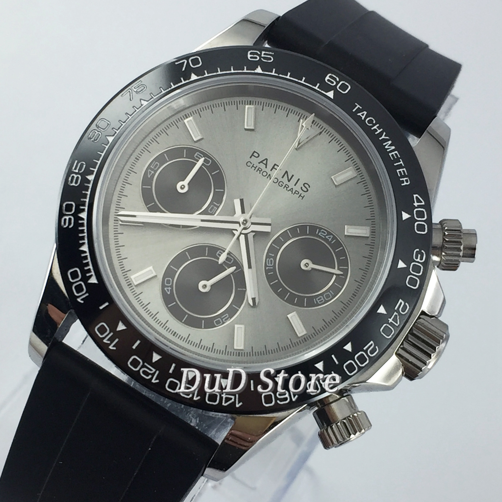 PARNIS 39mm luminous Quartz men's watch Rubber strap Full Chronograph gray dial sapphire glass black bezel stop watch men watch