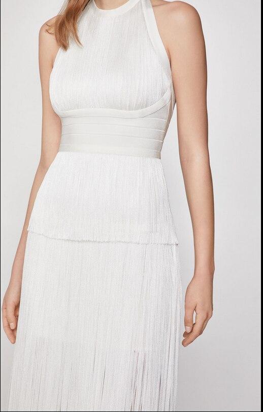 ฤดูร้อนใหม่คนดังสีดำสีขาวแขวนคอ Slim บาง MAXI ยาวผ้าพันคอสีทึบเข่าความยาวชุดเซ็กซี่ f