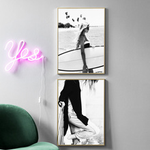 цена на Black White Beach Girl Wall Art Print Canvas Painting Nordic Canvas Poster And Prints Wall Pictures For Living Room Home Decor