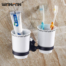 Cup & Tumbler Holders Bathroom Accessories Double Toothbrush Cups Ceramic Brass Cup Holder Wall Mounted Home Decoration SY-083R(China)