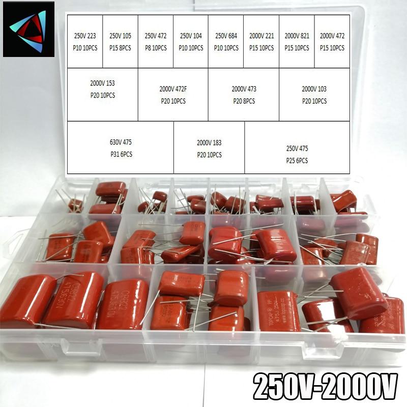 250V 630V 2000V 140 pçs/caixa 24 Tipos 223 105 472 104 684 221 821 472 153 472 473 103 475 183 475 KIT Capacitores De Filme de Metal CBB