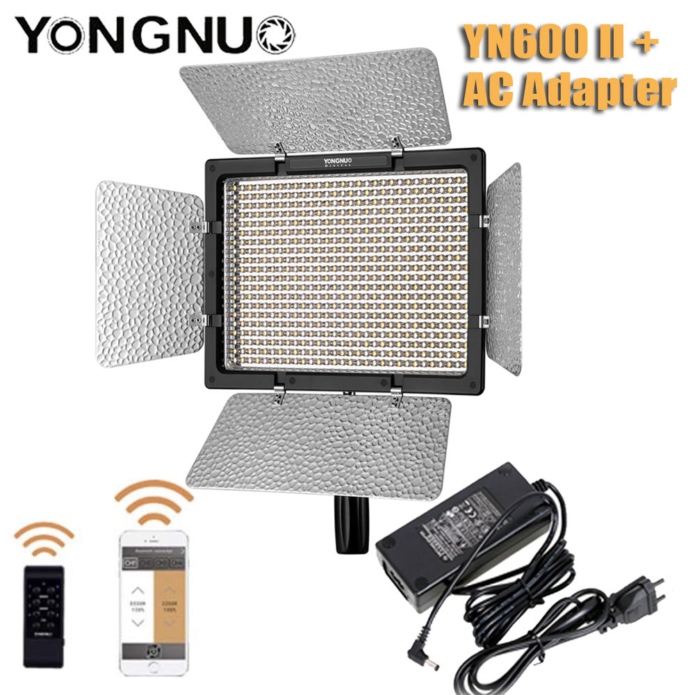 Yongnuo YN600 <font><b>II</b></font> <font><b>YN600L</b></font> <font><b>II</b></font> Bicolor LED Video Light + AC Adapter Set Support Remote Control by Phone App for Interview image