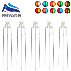 100PCS 3MM Round Clear Lens Two Color Common Anode/Cathode LED Red Warm White Blue Yellow Green Bi-Color Diode Light