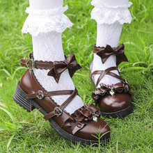 WHOHOLL Low heels Plum Blossom Lolita Shoes Girl Bucklet Bow Soft Sister Student Jk Uniform Shoe