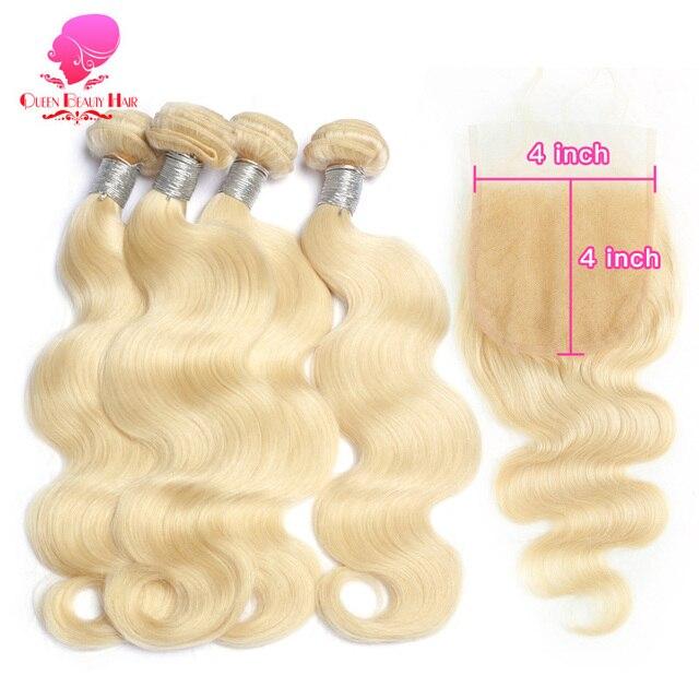 QUEEN 613 cabello humano ondulado brasileño de 8 - 36 pulgadas Remy Weft 3 4 mechones con 5x5 de malla con división y cierre