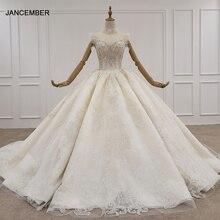 HTL1224 2020 suknia ślubna na szyję bez rękawów kryształowa perła zipper powrót księżniczka cut suknie ślubne свадебное плацие бохо