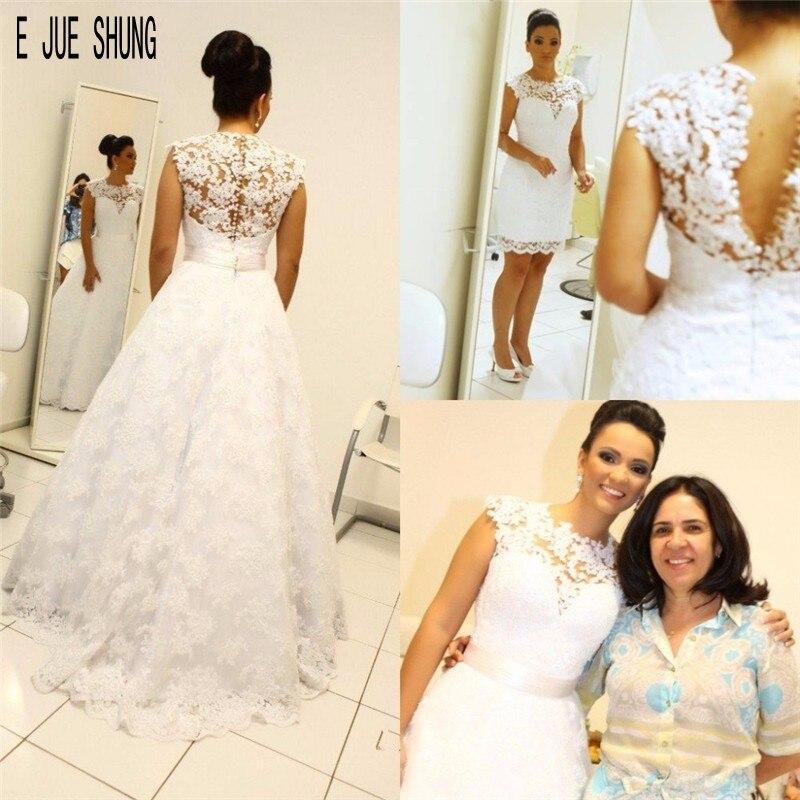 E JUE SHUNG  A Line Wedding Dress Detachable Train O-Neck Cap Sleeves Full Lace Appliques 2 In 1 Wedding Gowns Vestido De Noiva