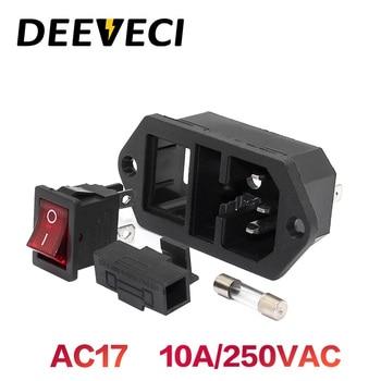 Eléctrico CA hembra 2 pin rojo LED 250V 4p interruptor basculante 10A fusible hombre mujer entrada conector de clavija 3 enchufe con pines IEC320 C14 2