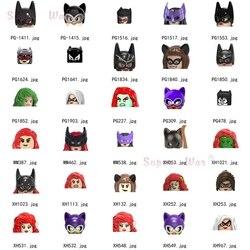 Tek DC süper kahramanlar Batman Catwoman Poison Ivy Batgirl rakamlar kafa aksesuarları oyuncak inşaat blokları çocuklar için serisi-012