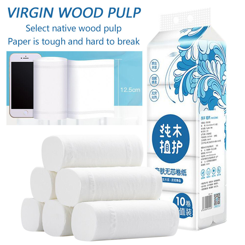 10pcs Roll Replacement Roll Paper 4 Layer Thickened Toilet Table Kitchen Paper Paper Towels, Soft Toilet Paper, White Toilet Pap