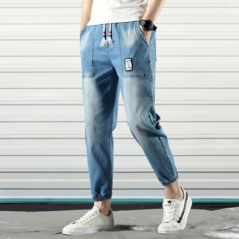 #2123 Summer Pencil Harem Men's Jeans Fashion Casual Blue Elastic Waist Denim Jeans Biker Men Japanese Streetwear Jeans For Man
