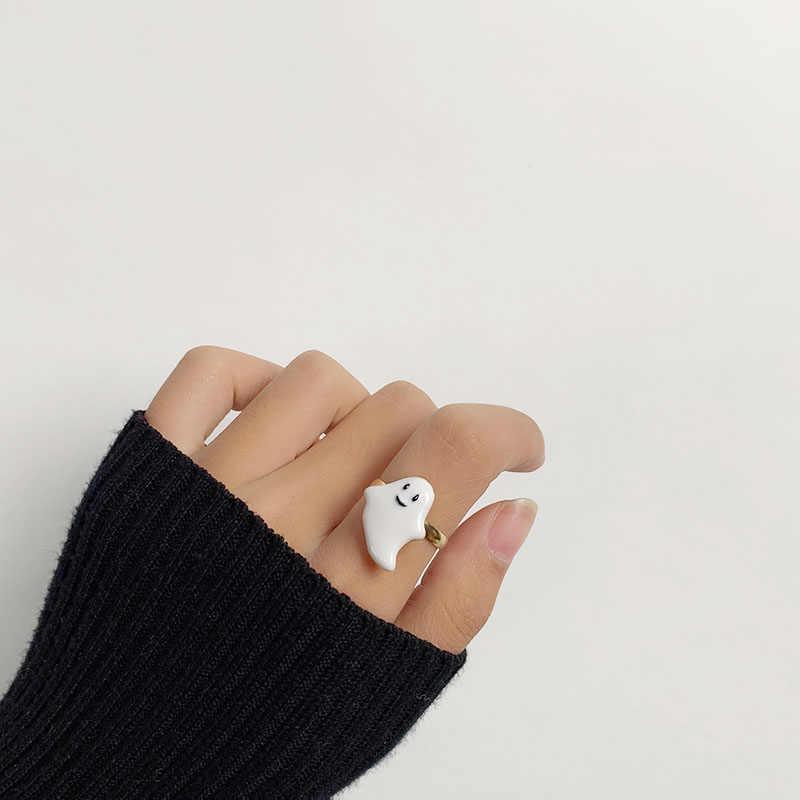 2020 New Hot moda Halloween biały duch wisiorek dynia Bat emalia śliczny zabawny pierścień asymetryczny kolczyk dla kobiet biżuteria