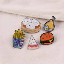 Cartoon Food Hamburg Brooch Clothes Lapel Pin Badge Jewelry Gift Accessories Icon Clothes Lapel Pin Metal Brooches Icon On Cloth