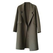 Autumn Winter Coat Women 2019 Casual Long Slim Wool Blend Outerwear Female Elegant Turn -Down Collar Woolen Coat Ladies Overcoat цена в Москве и Питере