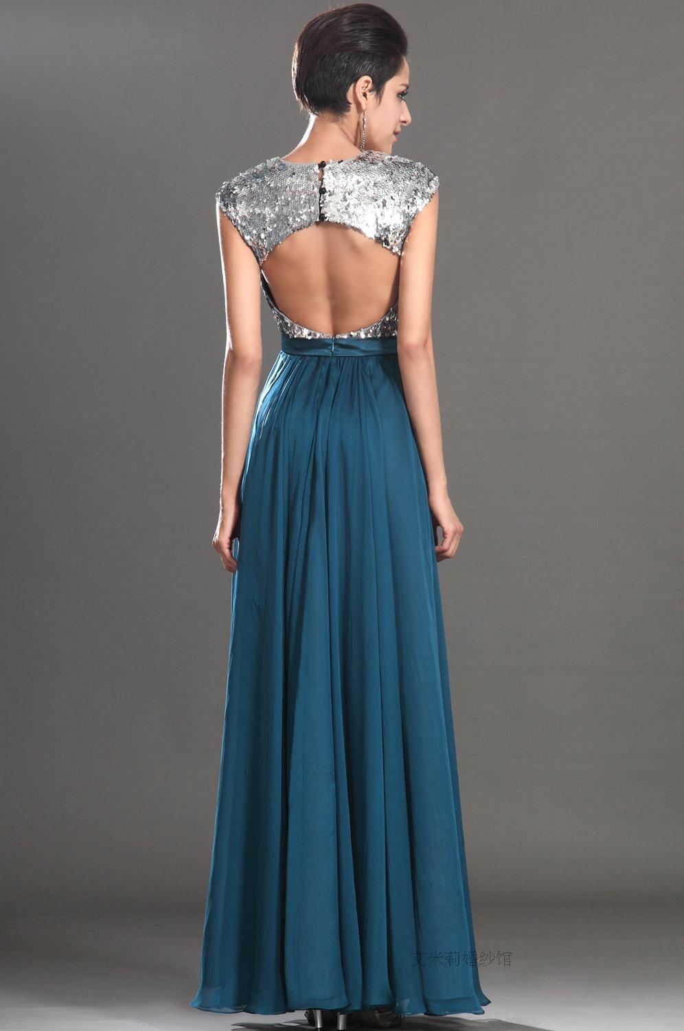 new hot sexy backless cap sleeve sequined long beach Formal Evening gown 2015 vestidos floor-length Evening Dress free shipping
