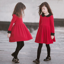 2019 New Girls Dress Autumn Clothes Style Children Princess Dress Long Sleeve Red Casual Dress Kids Cute Dresses For Girls недорого