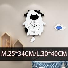 Большой Корова swingable часы мультфильм животных Прекрасный