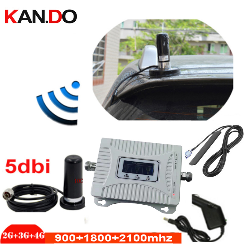 For Car Use 2G 3G 4G Booster 900 1800 2100mhz Phone Booster Tri Band Mobile Signal Amplifier LTE Cellular Repeater GSM DCS WCDMA