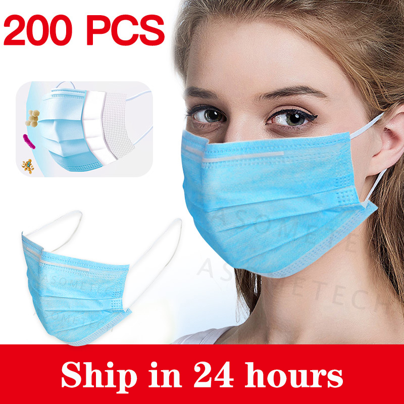 Disposable Face Mouth Mask 3 Layers Blue Ffp3 Mask Respirator Mascarilla Filter Dustproof Earloop Tapabocas Protective Masks