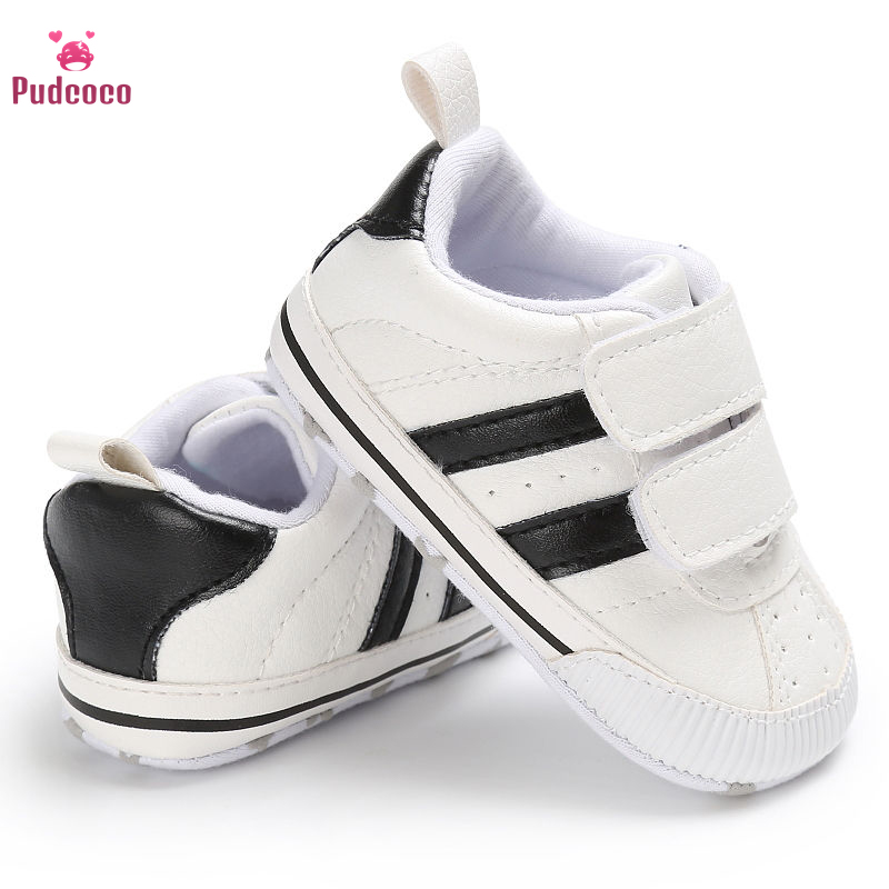 Pudcoco Infant Newborn Toddler Baby Boy Shoes First Walkers Girl Crib Striped Soft Sole Hook Loop Prewalker Sneakers 0-18 Months