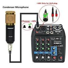A4 Sound Mischpult Bluetooth USB Rekord Computer Wiedergabe 48V Phantom Power Delay Repaeat Wirkung 4 Kanäle