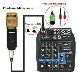 Bluetooth  USB Audio Mixer 4 Channels Sound Mixing Consoles  Amplifier Mini  Computer 48V Phantom Power