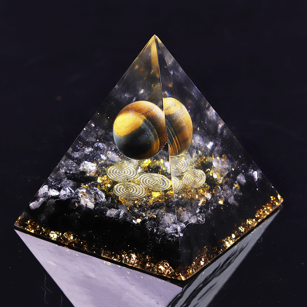 Orgone Energy Converter Orgonite Pyramid Obsidian Soothe The Soul Stone That Change The Magnetic Field Of Life Resin Jewelry