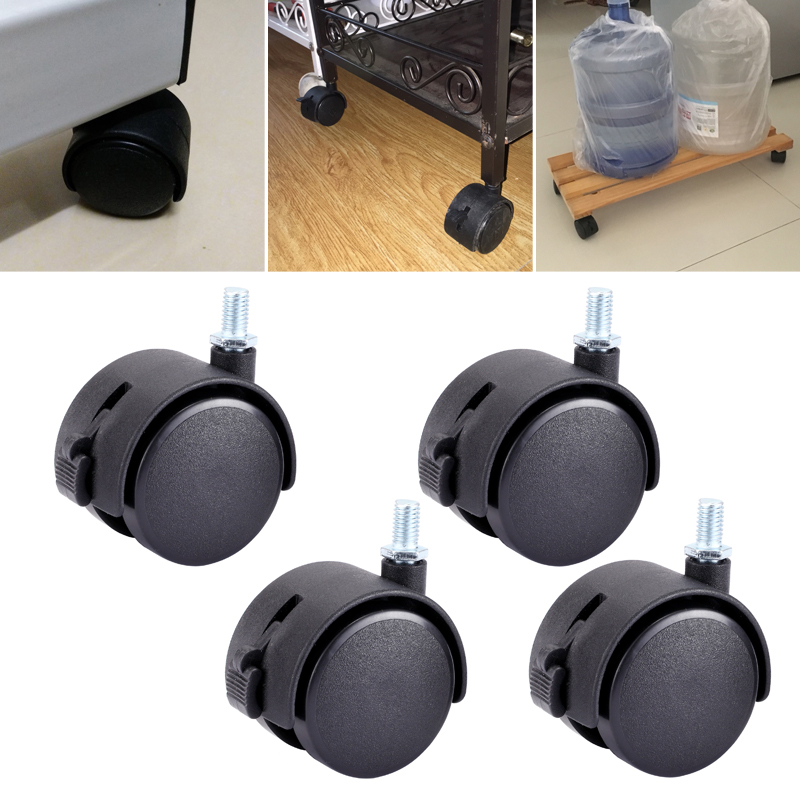 Myhomera 4Pcs 40mm 48mm Chair Wheel Furniture Caster M8 Screw with Brake Swivel Castor Wheels Replace Trolley Machinery Silent