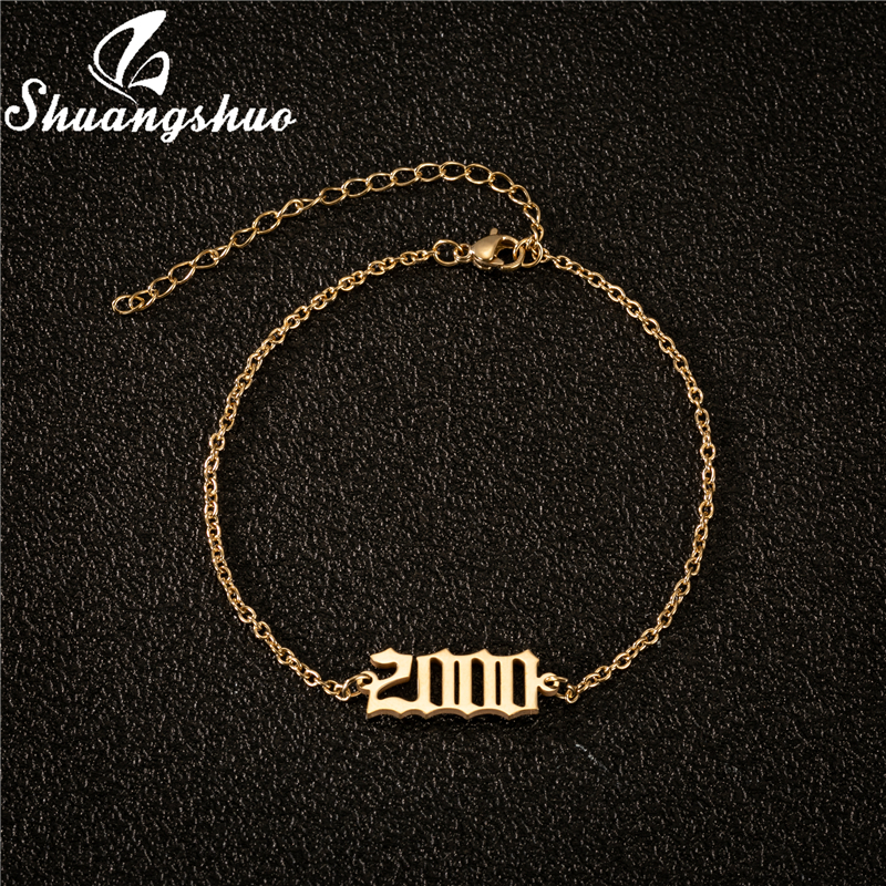 Stainless Steel Anklet Number Year Anklets 1980 1981 1982 1983 1984 1985 1986 Year of Birth Ankle Bracelet Old English Jewelry