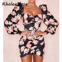 цены KHALEE YOSE Floral Printed Pencil Dress Black Elegant Dresses Women Long Puff Sleeve Backless Sexy Asymmetri Female Party Dress