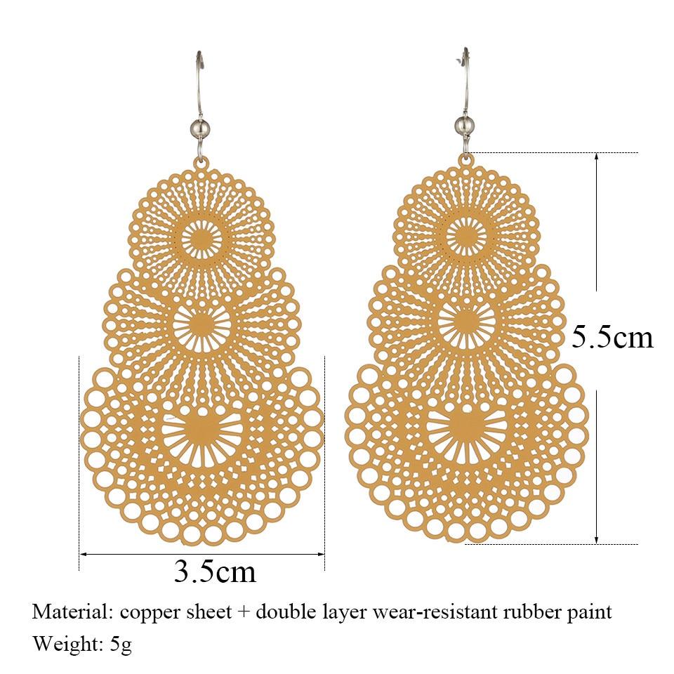 Colorful Ethnic Hollow paper cut Water droplets earrings Charm Fashion geometric Drop earrings for women 2019 New jewellery
