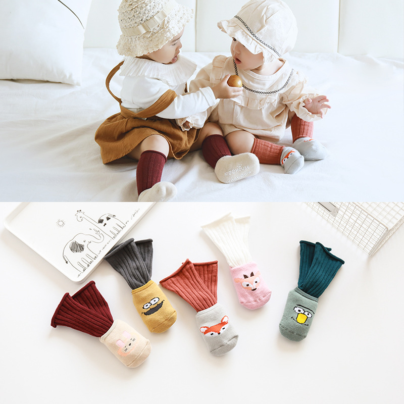 Cute Infant Toddlers Socks Combed Cotton Baby Socks Cartoon Thick Terry Socks Baby Suit Combination Socks Non-slip Floor Socks