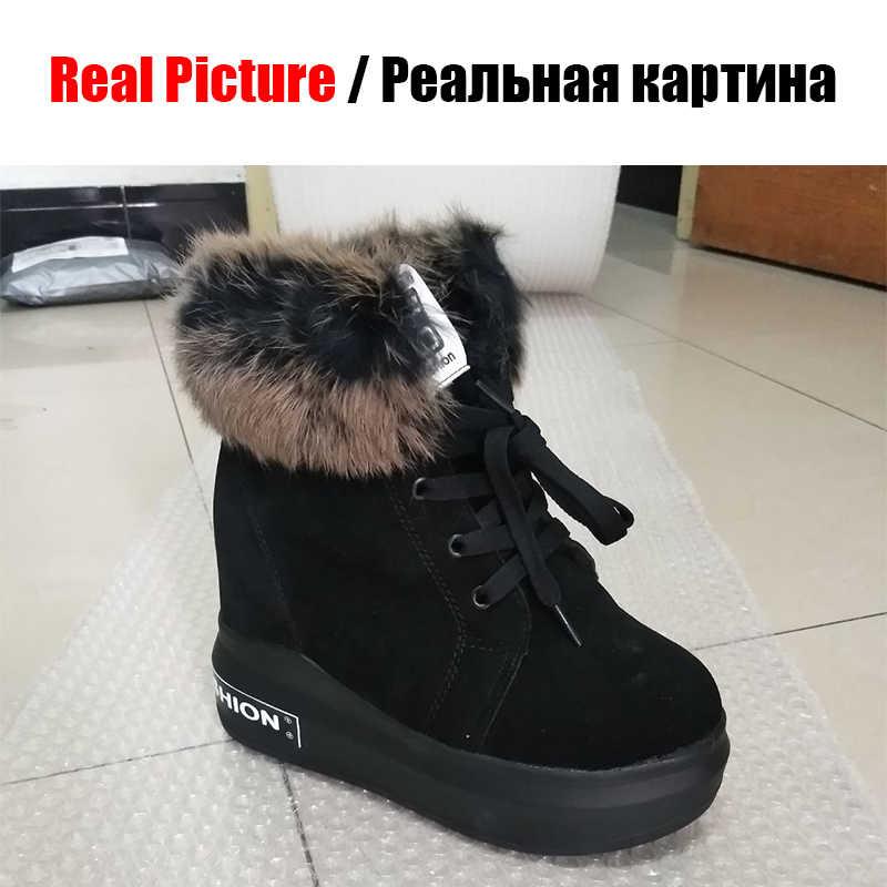 KARINLUNA/2019 г. Новые ботинки с круглым носком на шнуровке обувь, увеличивающая рост Лидер продаж, женские повседневные осенне-зимние ботильоны