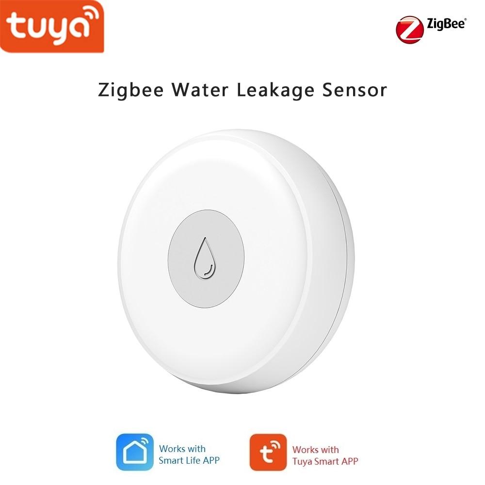 Tuya Smart Home Zigbee Water Leak Detector Sensor, Alarm Notice Push To Phone APP , Smart Home Automation With Other Tuya Device