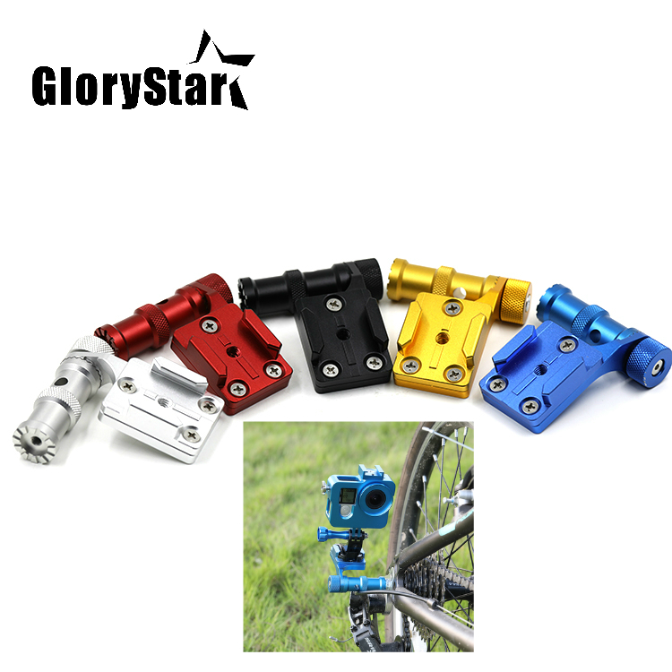 GloryStar CNC Aluminum Bicycle Stand Mount Bracket Base Holder Adapter for Gopro hero 876543S OSMO Xiaomi Yi sj5000 Sport Camera image
