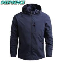 Primavera outono moda casual militar fino jaqueta masculina sólida zíper bolso waterproop casaco com capuz streetwear jaquetas tamanho 5xl