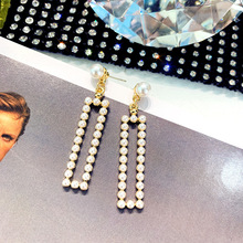 DREJEW Geometric Rectangle Pearl Statement Dangle Earrings 2019 Square 925 Alloy Drop for Women Fashion Jewelry HE7451