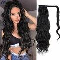 Длинный волнистый конский хвост, человеческие волосы, обертывающиеся на заколке, черные волнистые накладные волосы, афроамериканский конс...