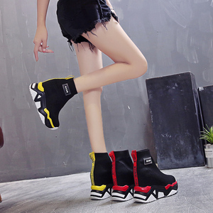 Image 2 - SWYIVY רשת טריז נעלי פלטפורמת אישה מגפי גבירותיי חדש מוצק 2019 סתיו להחליק על קרסול מגפי נשים בוהן עגול נעליים נשיות