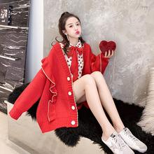 Officer figure Angola red loose women cardigan sweater coat during the spring and autumn very fairy institute of early s