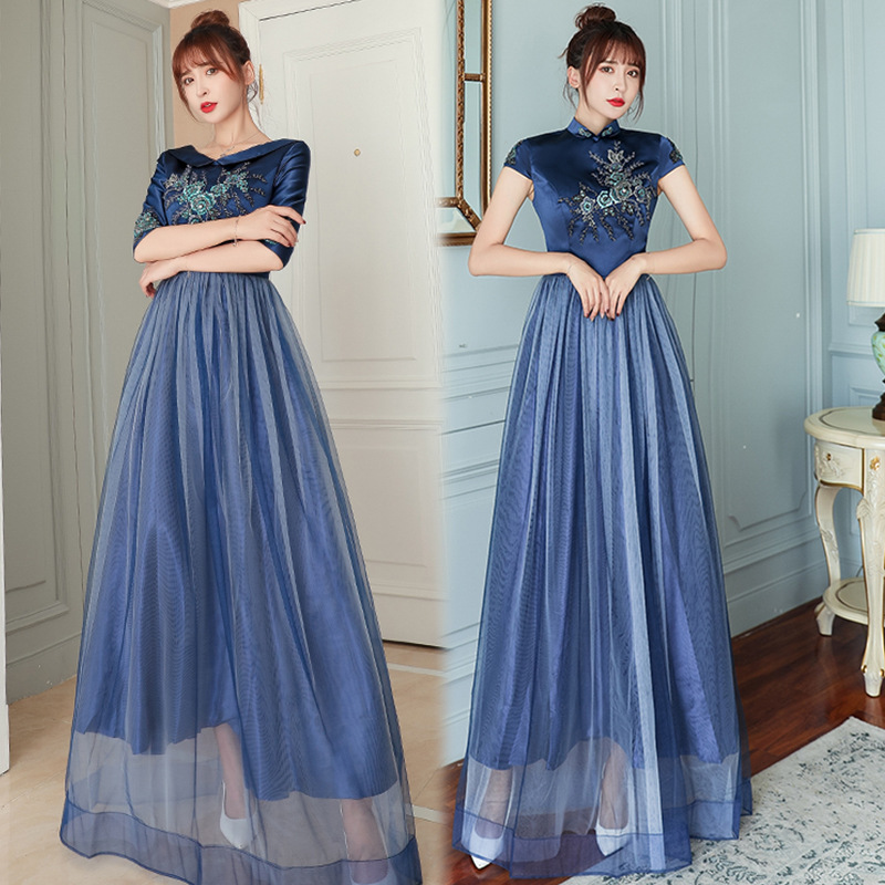 Navy Blue Bridesmaid Dresses Embroidery Pattern Formal Wedding Party Dress High Neck Short Sleeve Women Elegant Long Gowns R032