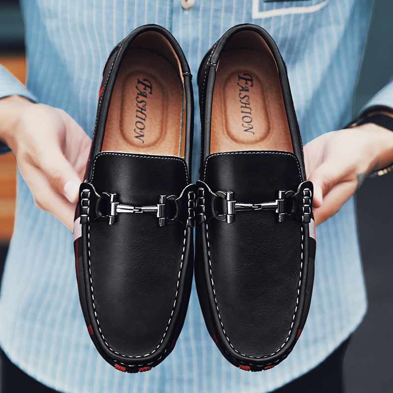 Trend men shoes leather loafers genuine leather slip men shoes leather casual shoes comfortable men loafers footwear black in Men 39 s Casual Shoes from Shoes