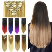 Soowee 24 дюймов 7 шт./компл. синтетический Высокая Температура волокно прямой чёрный; коричневый эффектом деграде(переход от темного к волосы на заколках для наращивания, 16 клипс, парик, заколки, заколки для волос
