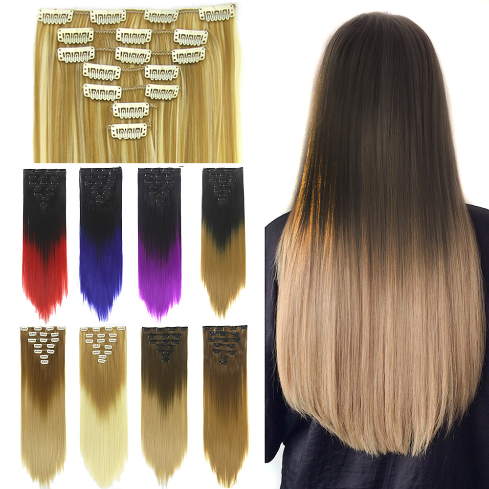 Soowee 24inch 7pcs/set Synthetic High Temperature Fiber Straight Black Brown Ombre Clip In Hair Extensions 16clips Hairpiece