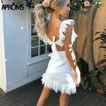 Aproms Elegant White Lace Crochet Short Dress Women 2020 Summer Sexy Bow Tie Backless Bodycon Party Dresses Sundresses Vestidos 5