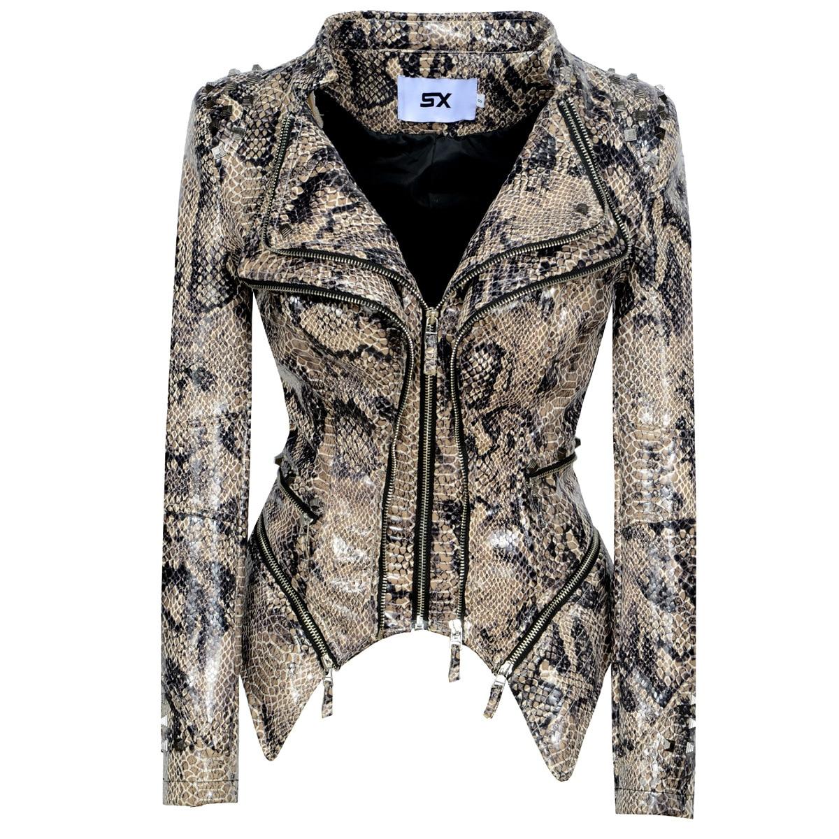 2020 Spring Autumn Leather Jacket Women Shrug Rivet Plus Size 3XL 4XL Washed Leopard Motorcycle PU Leather Jacket SX076