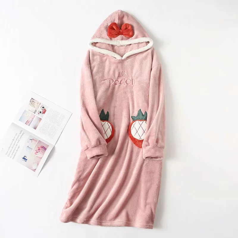 Women Pajamas Thick Nightdress Autumn Winter New Warm Cartoon Sweet Long Sleeve Cute Sleepwear Casual Homewear Female Pyjamas