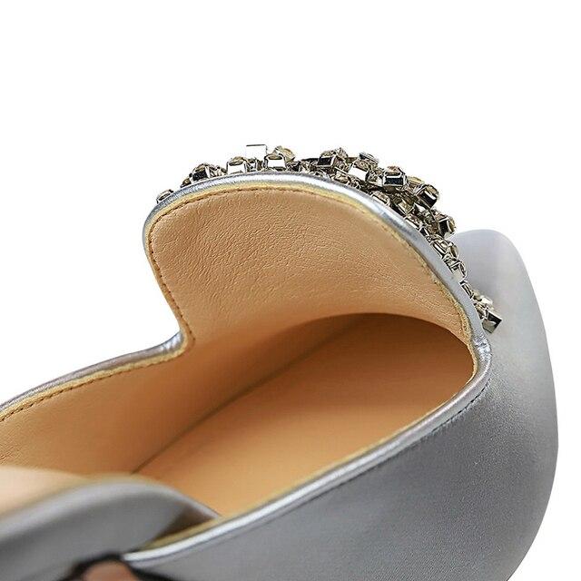 Luxury 10.5cm Crystal Silk Satin Closed Toe Slip On Heels 5