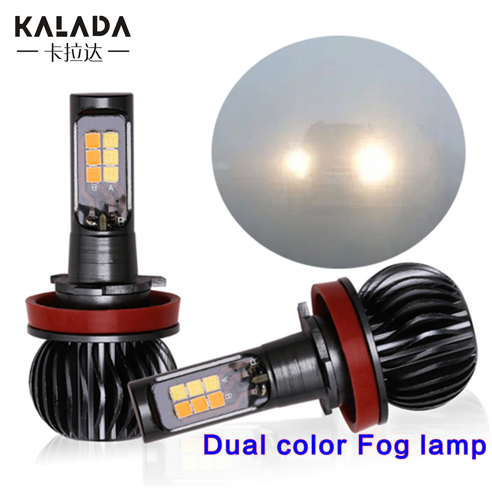 2 Pcs Fog Lamp Led Car Light  H1 H3 H4 H7 H8 H11 9005 9006 880 881Bulb Dual Colors Auto Foglights 12V 3000K White Yellow Amber