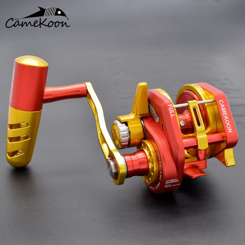 CAMEKOON Conventional Overhead Jigging Reel 35kg Max Drag  13+2 Ball Bearings 6.3:1 High Speed Saltwater Trolling Fishing Reel